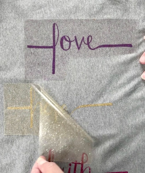 REmoving the film from HTV vinyl during my Cricut Easy Press Review
