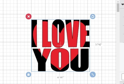 I LOVE YOU knockout design with a heart