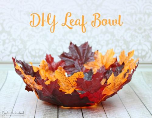 bowl made from fall leaves