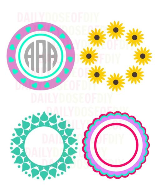 circle monogram frames for cricut design space