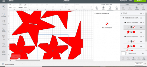 Change the score lines on the patriotic star to score in crucit design space