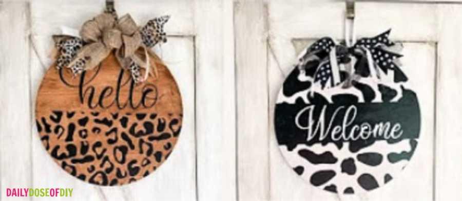 Animal Print Door Hanger - two finished door hangers