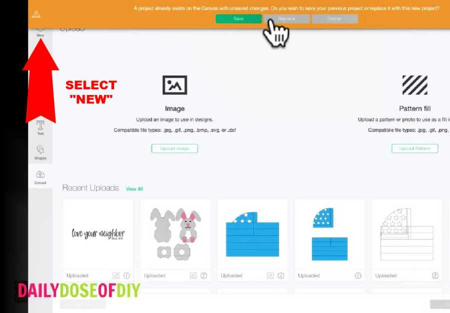Select new project before trying to save a new design into your collection