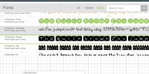 cricut fonts loaded into cricut design space