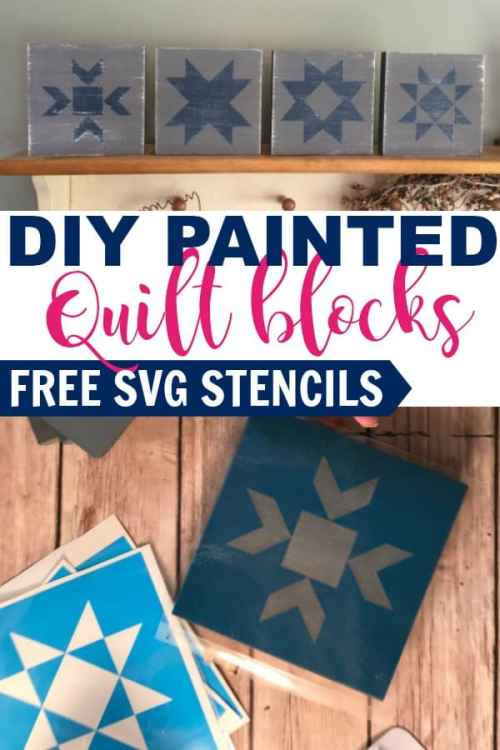 Quick and easy painted quilt blocks with free SVG stencil