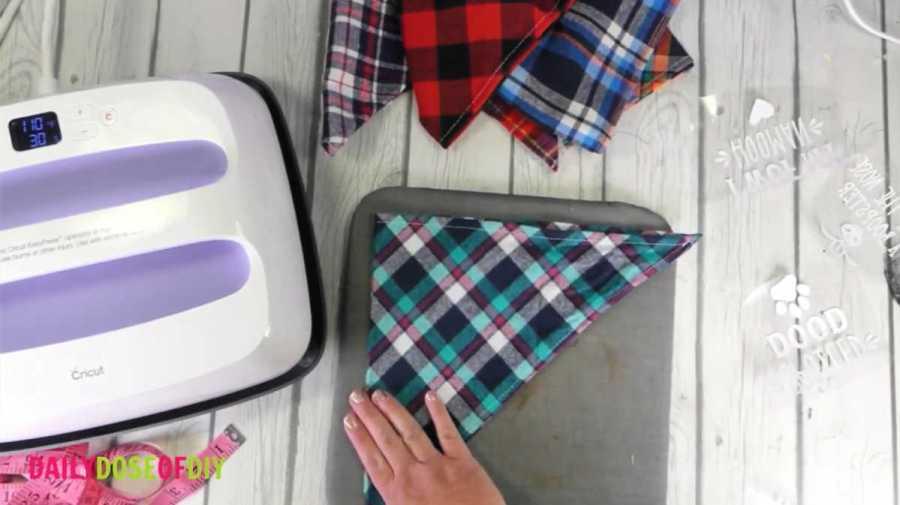 fold bandana in half and pre-press
