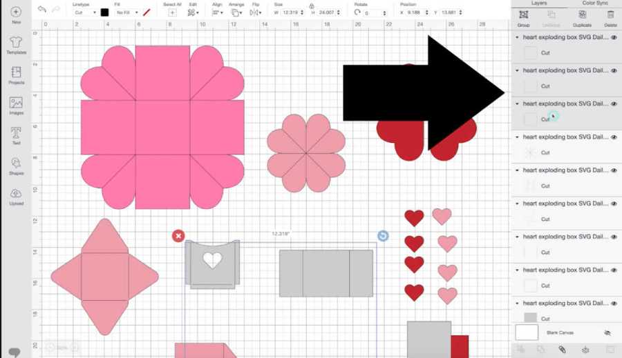 Changing score lines on exploding heart box design