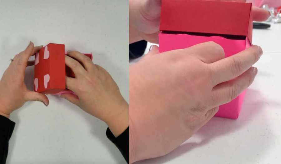 placing the lid on the exploding box