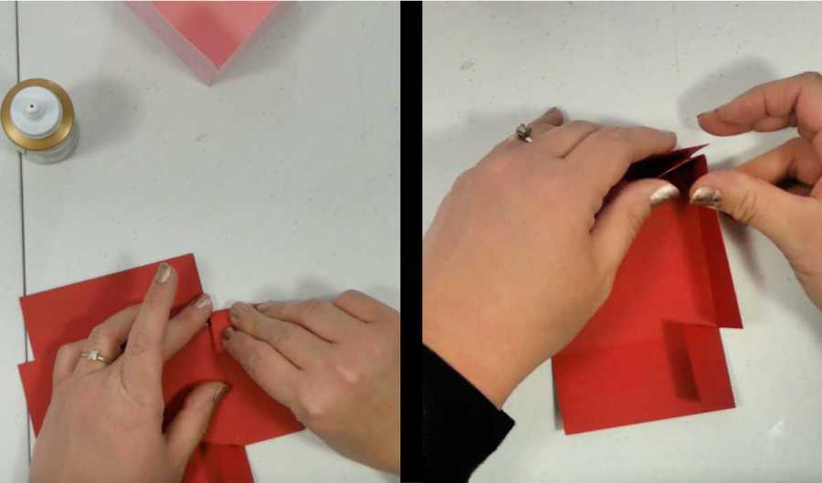 folding the tops for the exploding box