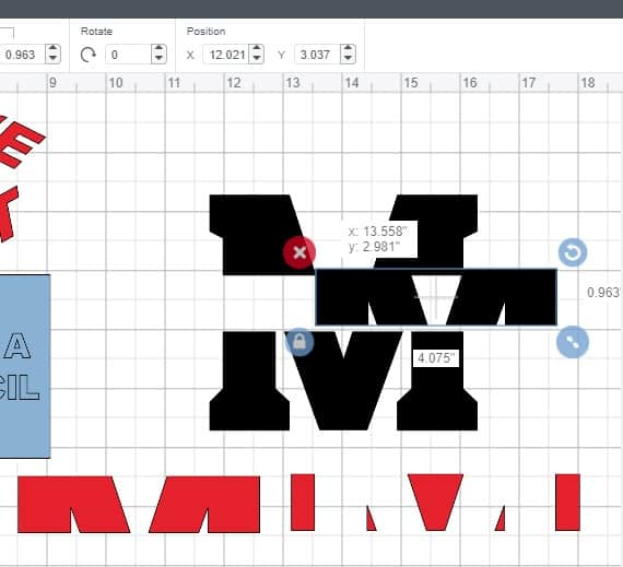 Slicing a monogram in Cricut Design Space