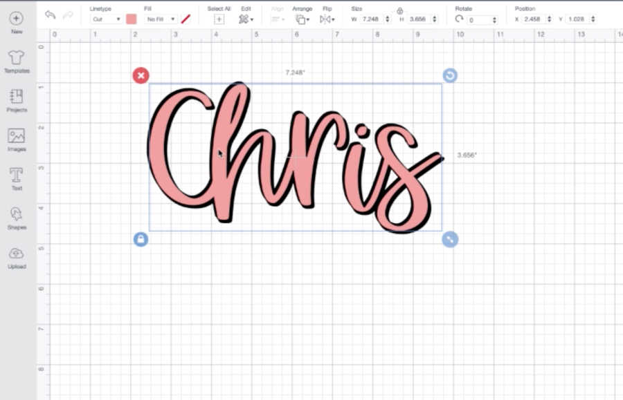 shadow layering text in Cricut Designs Space