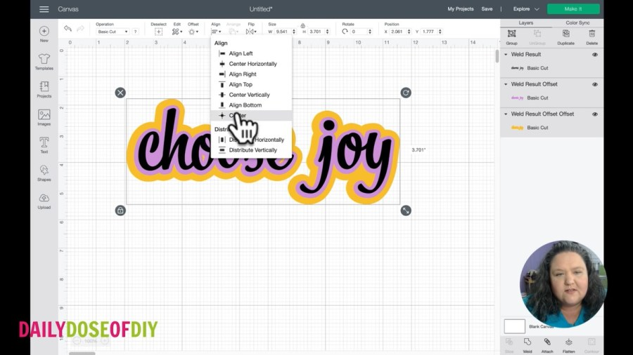 align and center all your layers in cricut design space to have them perfectly lined up