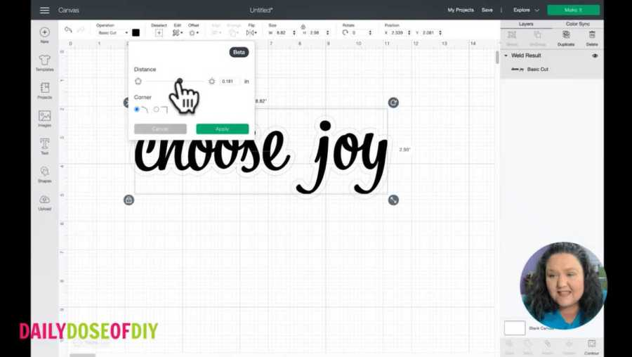 an offset is placed around the text in cricut design space. a sliding scale adjusts the size of the offset.