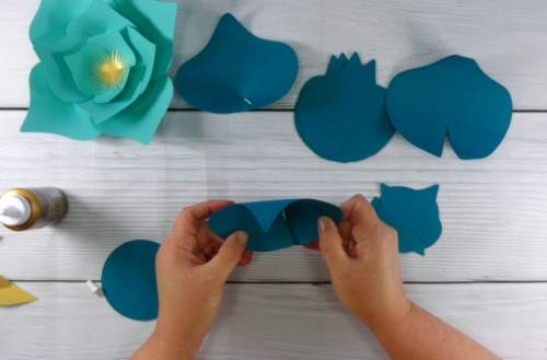 glue together the paper flower petals form the free paper flower svg