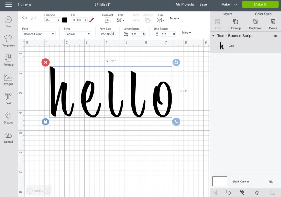 putting together script text in Cricut design space