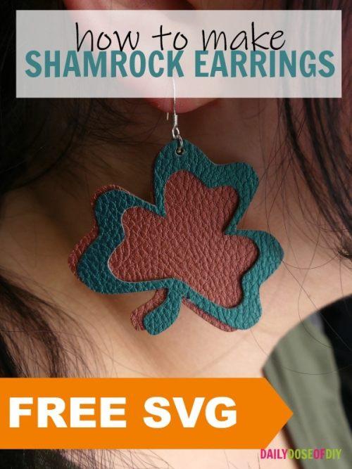 free shamrock earring svg to make shamrock earrings with your Cricut