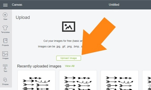 click upload images to upload svg files to cricut design space