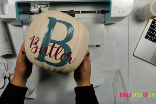 Personalized faux pumpkin with vinyl