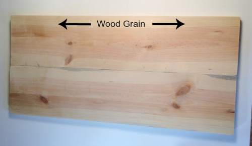 showing the direction of the wood grain
