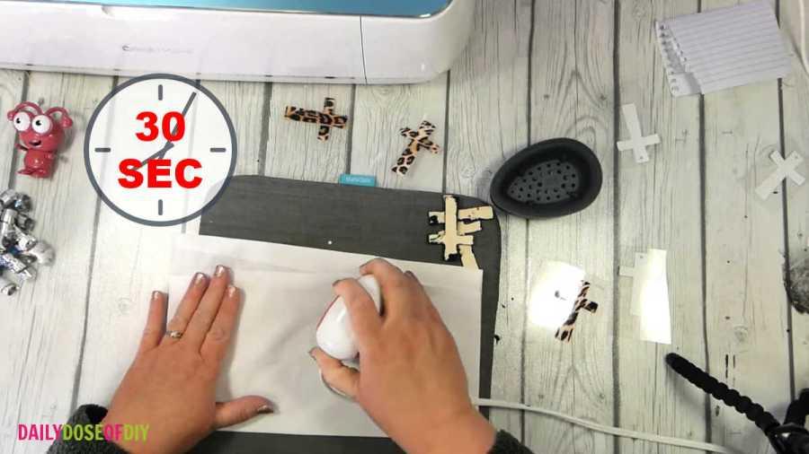 using a cricut mini press to make wooden cross accessories
