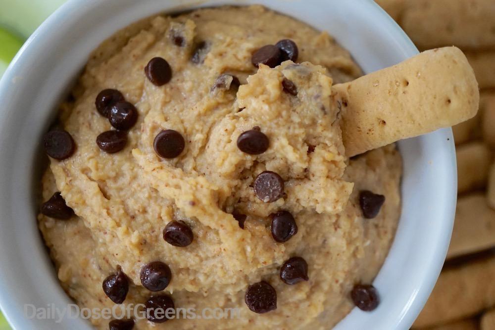 close-up of cookie dough dip