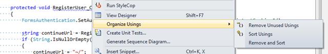 Remove and Sort – Namespaces using Shortcut in Visual Studio