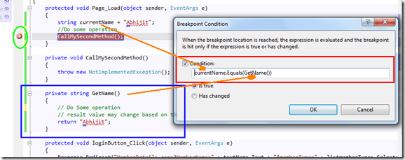 Use Conditional Breakpoints with Method Calling in Visual
