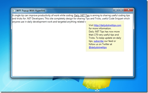 Using WPF Popup Controls with Hyperlink and TextBlock