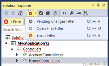 Error View  in Solution Explorer  Error Filter