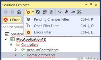 Error View  in Solution Explorer  Error Filter