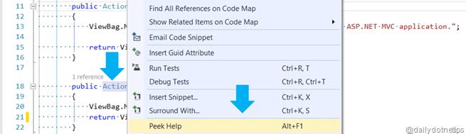 Visual Studio 2013 Tips and Tricks - Peek Help - Power Productivity Tool