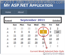 Change selected date background color of current week in ASP.NET Calendar