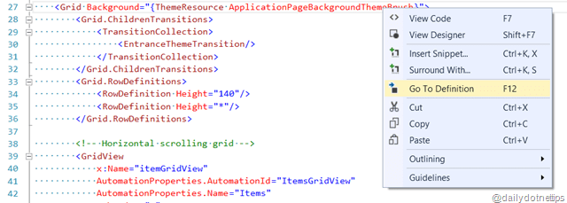Go To Resource Definition – XAML Code Editor – Visual Studio 2013