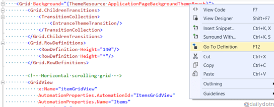 Go To Resource Definition – XAML Code Editor – Visual Studio 2013