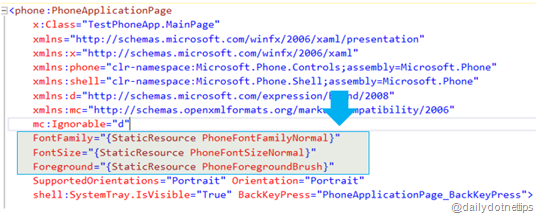 Default Resources for Windows Phone 8 Application