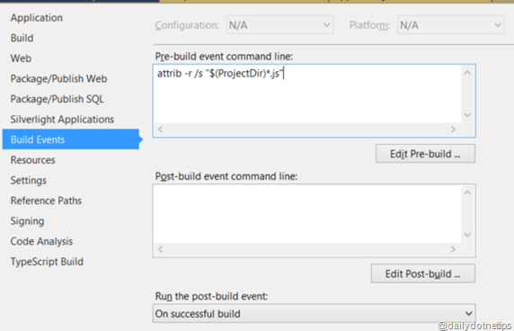 Adding Pre-Build Event to remove readonly attributes