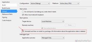 Automatically uninstall and then reinstall Windows 8.1 App package while start debugging
