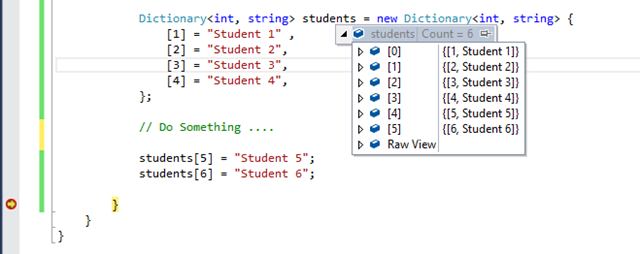 Initialization of  Dictionary – Dictionary initializer in C# 6.0