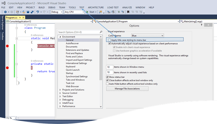 AllCapsMenuBar thumb How to change Menu Bar Style in Visual Studio 2015 ?