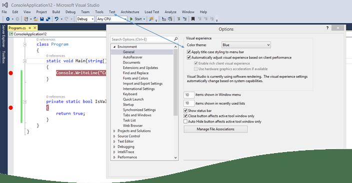 DefultMenuStyle How to change Menu Bar Style in Visual Studio 2015 ?