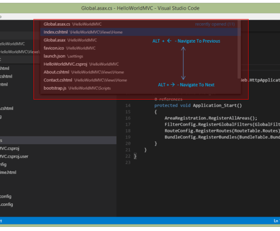 How to navigate through history of files in Visual Studio Code ?