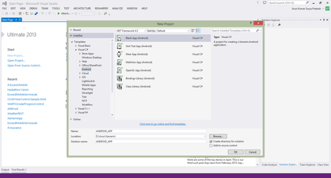 How To Start Building Android App using Xamarin in Visual Studio ...