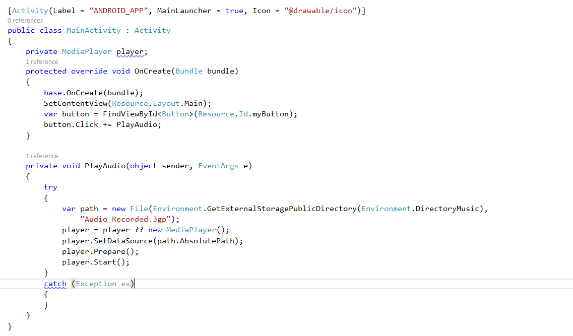 How to Play Audio using MediaPlayer using Xamarin in Visual