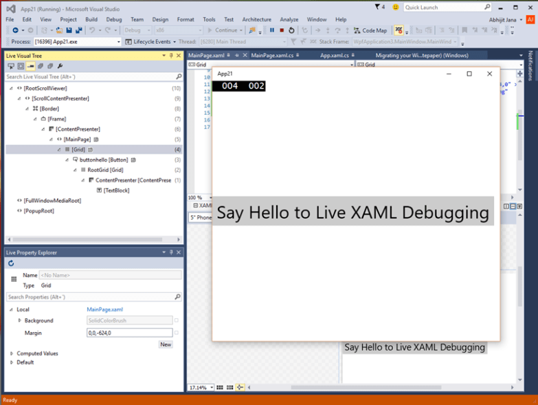 Windows Univeral App - Live Visual Tree and Live Property Explorer