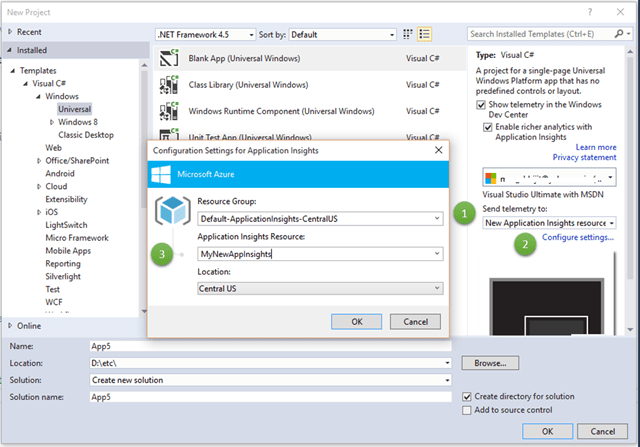 Using Application Insights right from the Visual Studio 2015