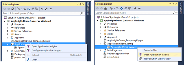 Configuring Application Insight from Solution Explorer – Application Insight Config Files