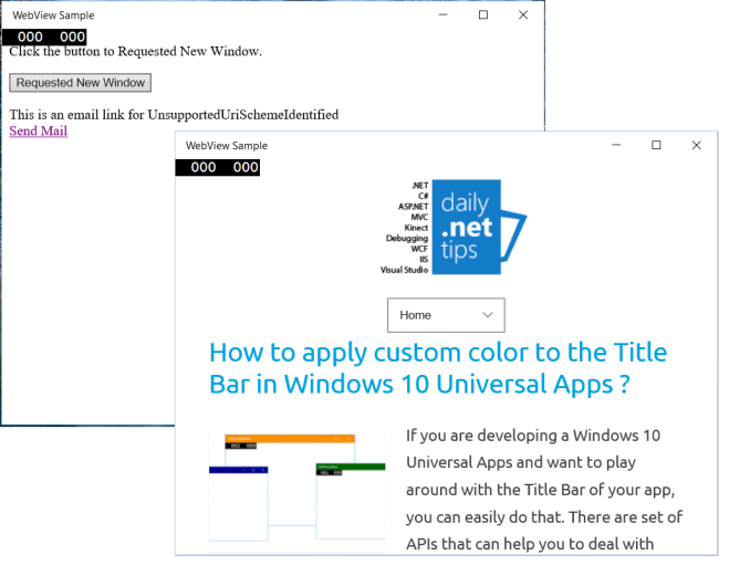 Understanding the new features of WebView in Universal Windows App