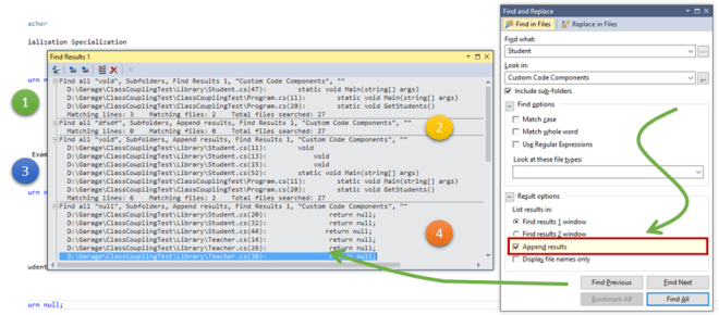 """""""Appending Search Results""""–use same find result window for multiple Search in Visual Studio"""