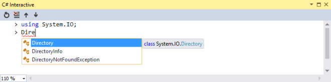 Use C# Interactive Window for your coding experiment in Visual Studio 2015