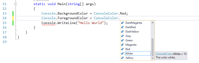 Color Indicator for Code Changes and Visual Studio IDE